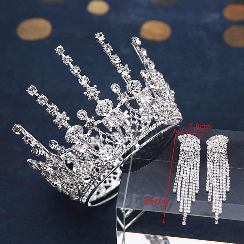 Wedding Bridal Sieraden Sets Barokke Ronde Tiara Set Volledige Cirkel Crown Ketting Earring Koningin Prinses Pageant Verjaardag Kroon Kid