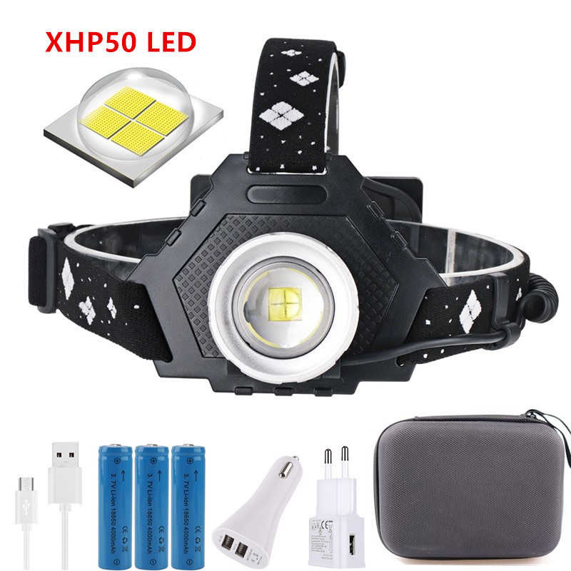 BORUiT XHP50 LED Headlamp 5-Mode Zoom Headlight 4000LM High Power Flashlight 18650 Rechargeable Camping Hunting Head Torches