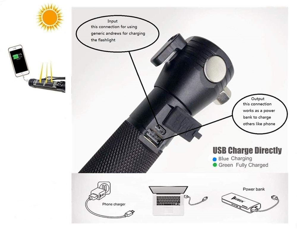 Ha5911c9fcd024121a397318322c00110M - Portable Solar Powered LED USB Flashlight Safety Hammer Torch Light With Power Bank Magnet Survival Emergency Light