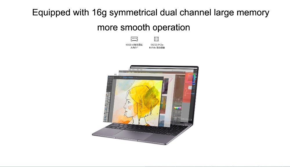 Best Elegant Laptop HUAWEI MateBook 13 New 2020 Notebook PC With i7-10510U 4.9GHz 16GB Ram 512GB SSD Touch Screen Backlit
