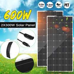 600W/300W Solar Panel 18V Monocrystalline Semi-flexible Solar Cell DIY Cable Waterproof Outdoor Connector Battery Charger