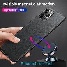Ultra-Dunne Doek Textuur Magnetische Houder Telefoon Case Voor Iphone 11 Pro Se Xsmax Xs Xr X 8 7 6 S Plus Luxuy Siliconen Stof Cover