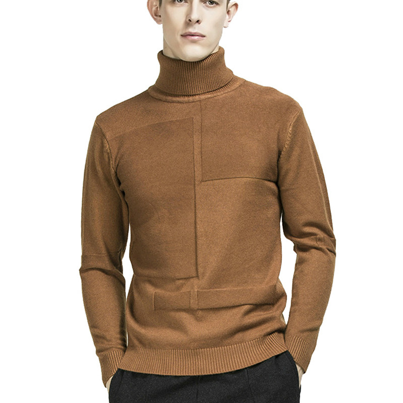 Zogaa 2019 Winter Mens Turtleneck Sweaters Solid Plaid High Neck Sweaters Pullover Male Knitwear Slim Fit Knitted Tops Pullovers