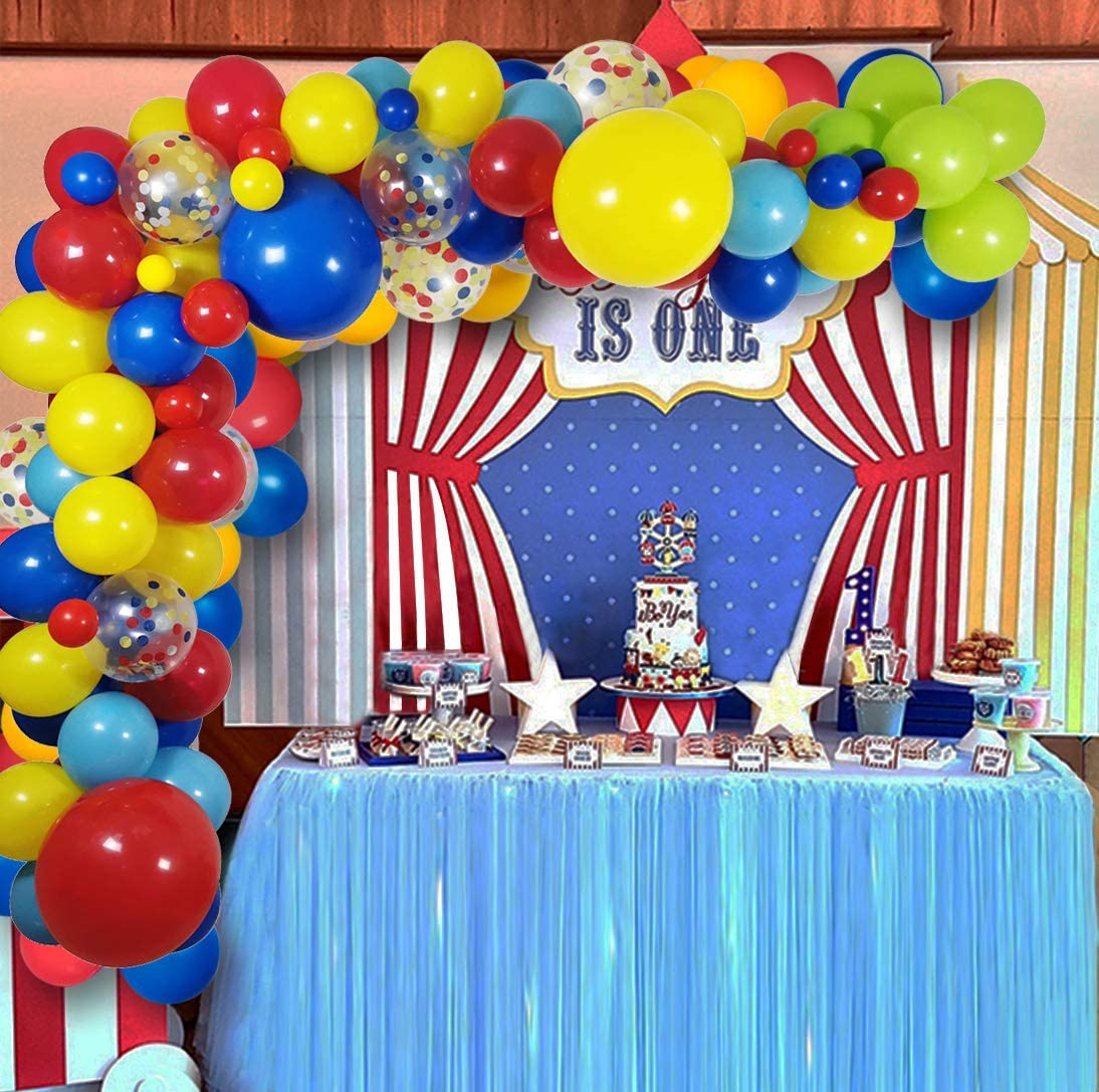 Carnival Theme Birthday Background for Kids Carnival Party Decorations Carnival Theme Party Decorations Circus Party Decorations Supplies Kit Circus Theme Party Decorations Carnival Circus Backdrop with Colorful Balloon Garland Arch Kit
