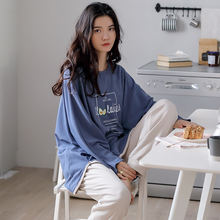 Осенний модный Пижамный комплект для женщин 100% хлопок домашняя