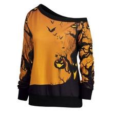 Women's Blouse Fashion Halloween Party Skew Neck Pumpkin Print Sweatshirt Jumper Pullover T-shirt Tops skew collar pullover sweatshirt with graphic