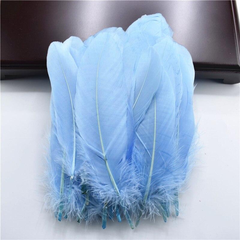 Жесткий полюс, натуральные гусиные перья для рукоделия, 5-7 дюймов/13-18 см, самодельные ювелирные изделия, перо, свадебное украшение для дома - Цвет: Light Blue