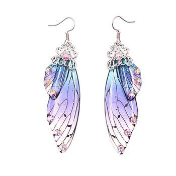 Simulación hecha a mano Cicada pendiente con forma de ala alas de mariposa largas de aluminio Rhinestone gota pendientes románticos regalos de joyería femenina
