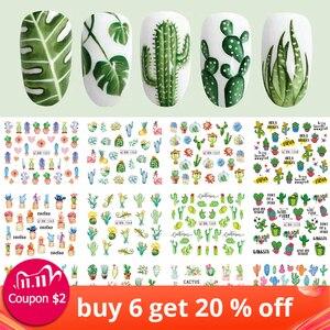 Image 1 - Pegatinas de agua para uñas de Cactus, 12 diseños, hoja de planta verde, copos de marca de agua, deslizador, tatuaje, decoración de uñas, LABN1261 1272 1