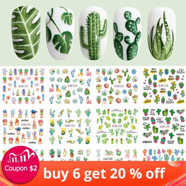 Pegatinas de agua para uñas de Cactus, 12 diseños, hoja de planta verde, copos de marca de agua, deslizador, tatuaje, decoración de uñas, LABN1261 1272 1