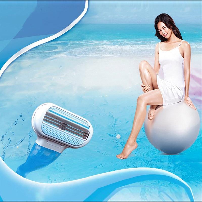 Beleza Feminina Depilation For Shaving Safety Razor Body Hair Removal Replacement Shaver Handle GilleVenu 3 Layer Razor Blade