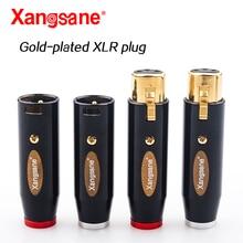 Xangsane Hifi 4Pcs XLR ปลั๊ก End ทองแดงบริสุทธิ์สีดำ Shell Gold Plated XLR 3สาย pin XLR เชื่อมต่อสำหรับเครื่องขยายเสียง
