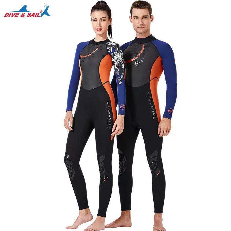Chinoiserie Wetsuit Men Women 3mm Neoprene+Shark Skin Patchwork Fullbody Diving Suit for Scuba Snorkeling Surfing Diving Sailing