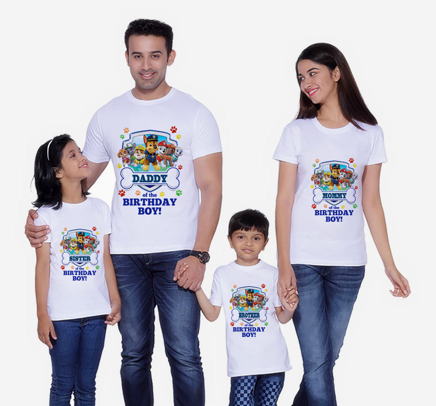 Dog Print T-Shirts Family Matching Clothes  Mommy And Me Clothes Birthday Boy Short Sleeve T-Shirt  Matching Outfits T-shirt