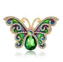 Green Butterfly Brooch Pin Enamel Crystal Insect Brooches Lady Party  For Women Gifts   Jewelry enamel crystal tortoise owl butterfly brooches female insect animal brooch pin for women fashion jewelry clothes accessories