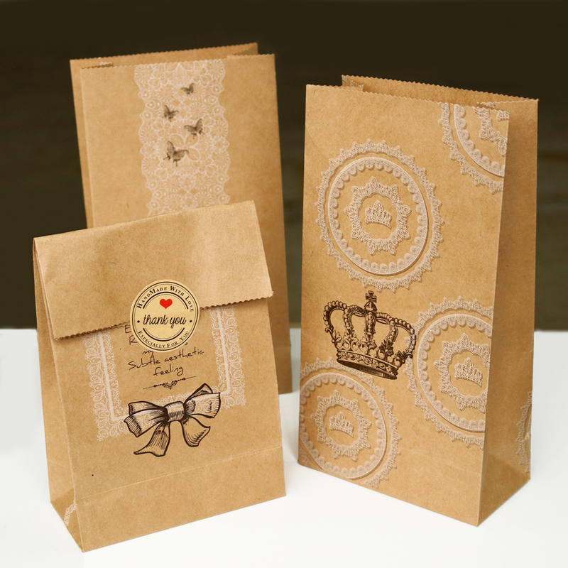 6pcs Vintage Crown Kraft Paper Bag Flower Butterfly Bowknot Lace Paper Bag Gift Bags Bread Candy Packaging Party Decoration