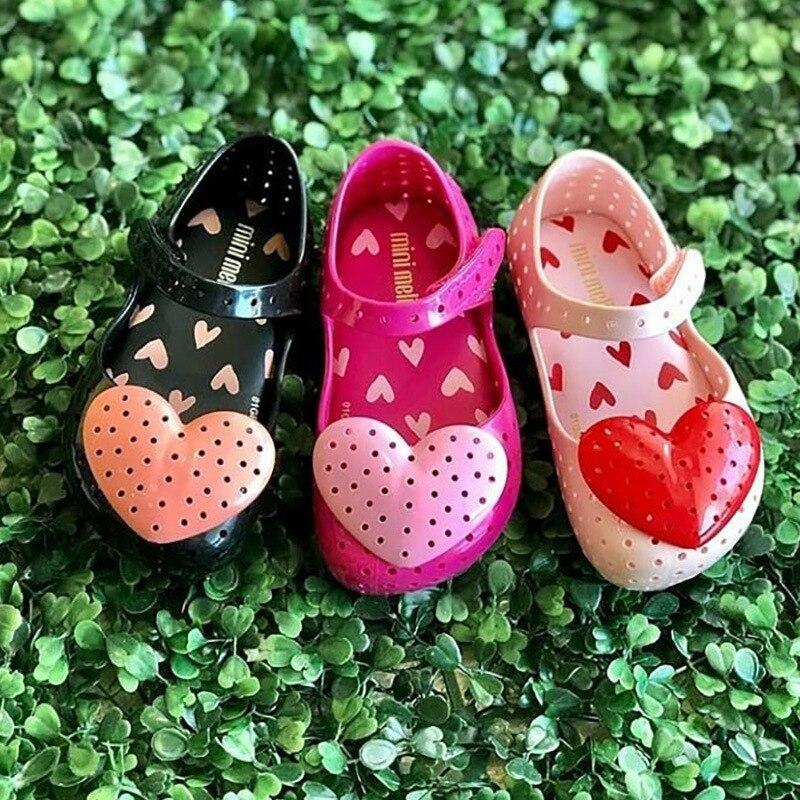 Mini Melissa Fashion Girls Candy Shoes Kids Heart Children's Summer Sandals Baby Valentine's Day Mini Melissa Shoes  SH19099
