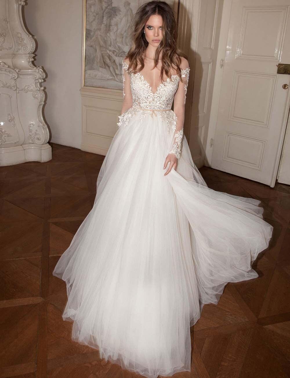 2020 Sexy Fall Backless Wedding Dresses With Long Sleeves Appliques Tulle Floor Length Sheer Neck Vestidos De Novia Bridal