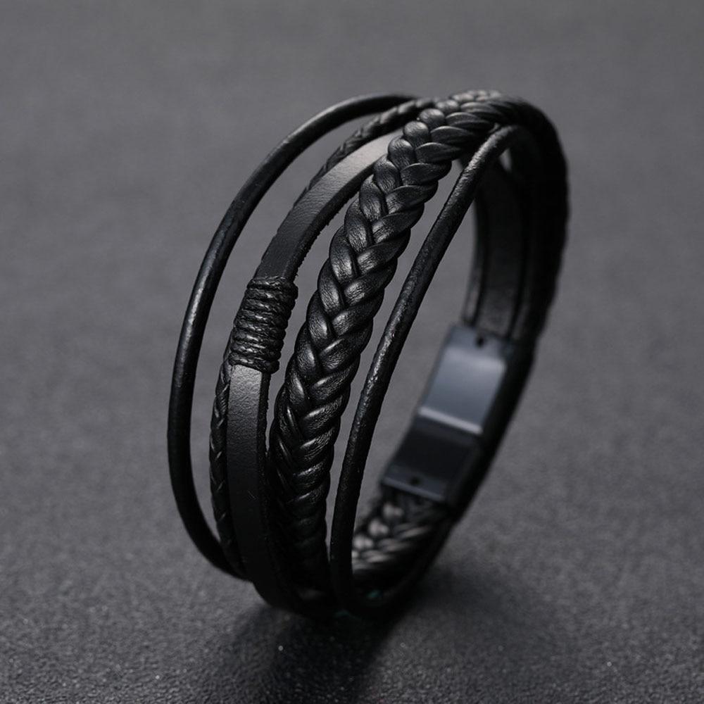 Men's Braided Leather Bracelets Armband Heren In Black And Brown Color With Magnetic Elegant Bracelet For Man