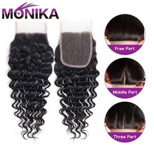 Image 4 - Monika saç brezilyalı kapatma derin dalga İnsan saç kapatma İsviçre dantel 4x4 kapatma saç olmayan Remy ücretsiz/Orta/üç bölüm kapanışları