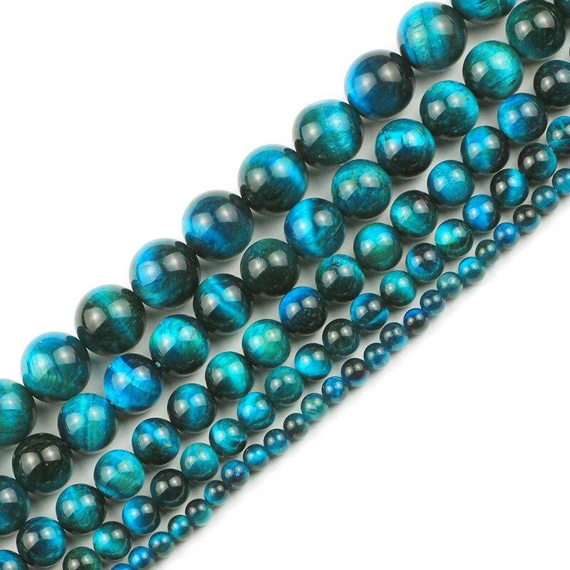 Natural Blue Tiger Eye Gemstone Spacer Loose Beads Jewelry Making DIY 4//6//8//10mm