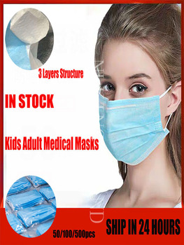 CE FDA Face Masks Disposable 3 Layers Mask Facial Protective Cover Masks Set Fast Shipping within 24 Hours ffp2 pm2.5 kids