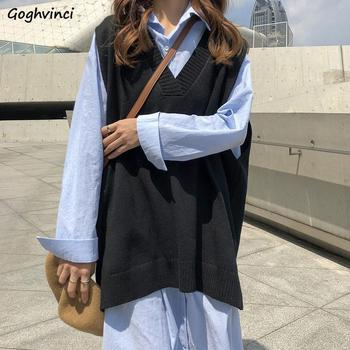 Sweater Vest Women Solid V-neck Loose Plus Size 3XL Simple Classic Elegant Office Ladies Vests Ulzzang Chic Leisure New Knitting