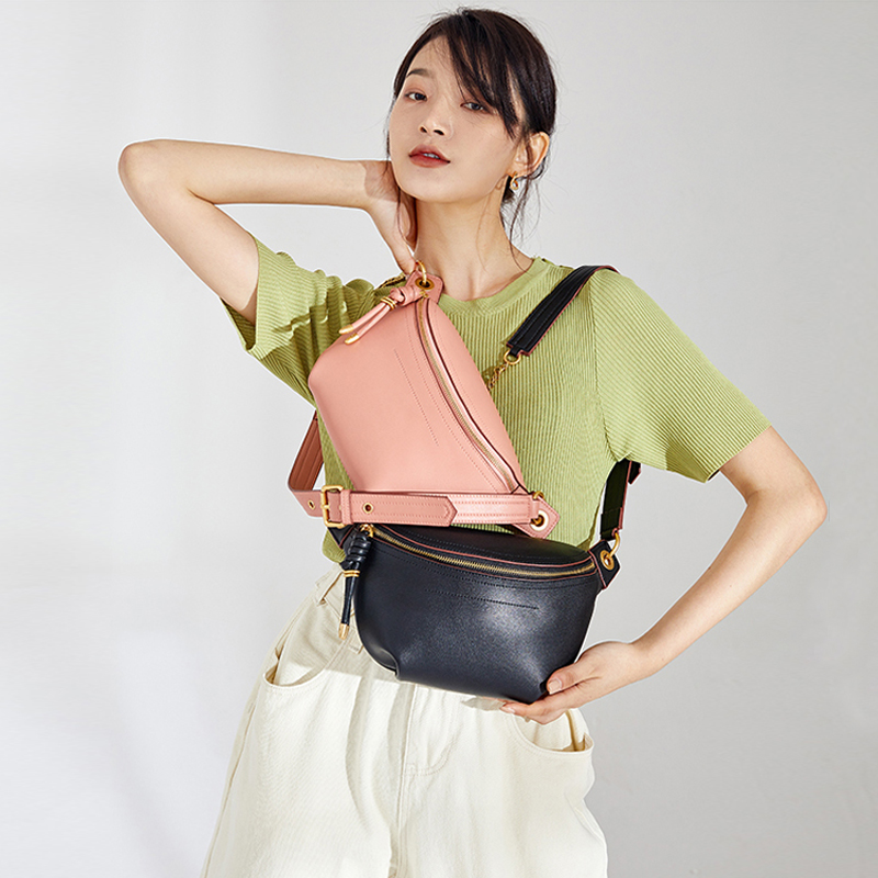 2020 Genuine Leather Women Crossbody Bag Fashion Waist Bag Luxury Famous Brand Shoulder Bag Chain Belt Female Bag Bolsa Feminina