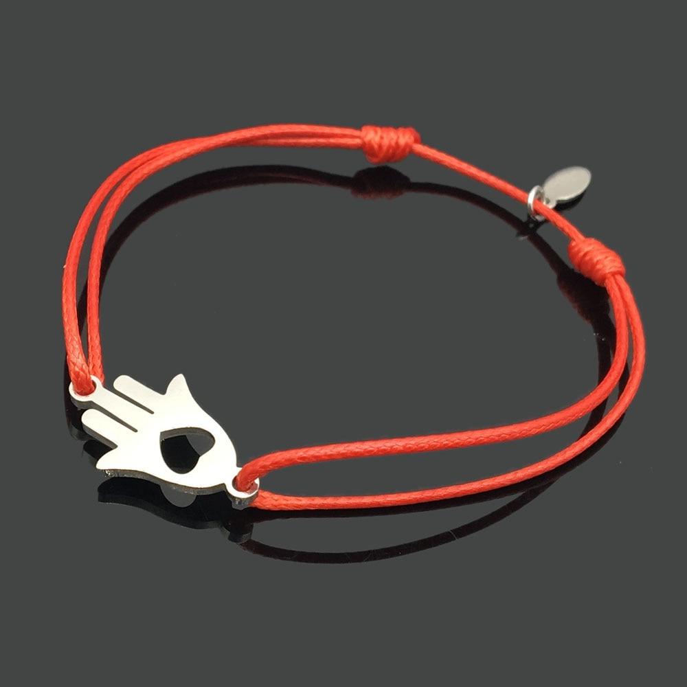 2 шт браслет желаний из нержавеющей стали, регулируемый шнур, хороший браслет, приносящий удачу, красный браслет дружбы - Окраска металла: stainless love hand