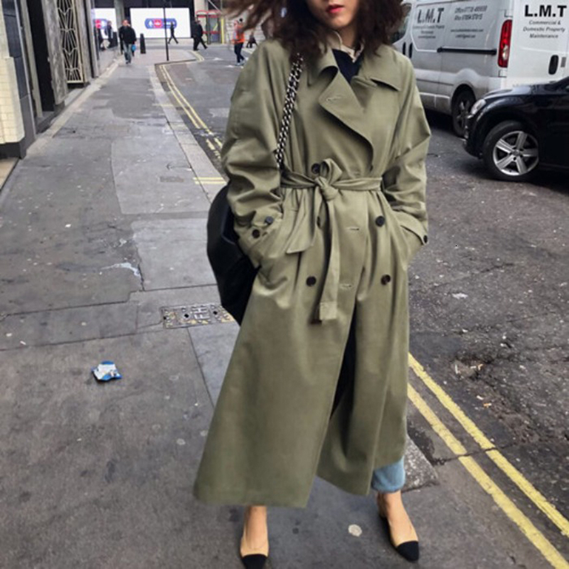 Spring 2020 Vintage Oversize Khaki Long Trench Coat Ladies Windbreaker Coat Fall Army Green Women With Waist Belt Outwear FY61