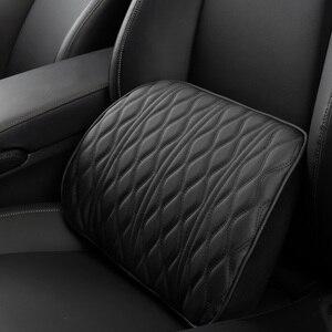 Image 4 - Speicher Schaum Auto Kopfstütze Kissen Leder Bestickt Sitz Unterstützt Sets Zurück Kissen Einstellung Auto Kopfstütze Lenden Kissen