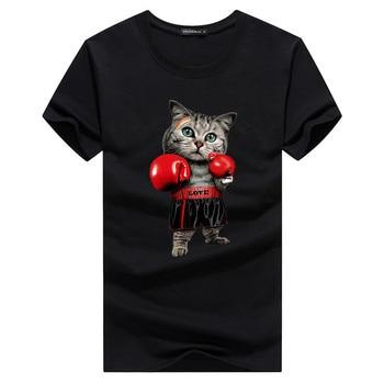 2020 New Summer Leisure time T Shirt Mens Boxing cat t shirts Funny Print Tshirt Men Hip Hop  Streetwear Shirt men Tee Shirts 02