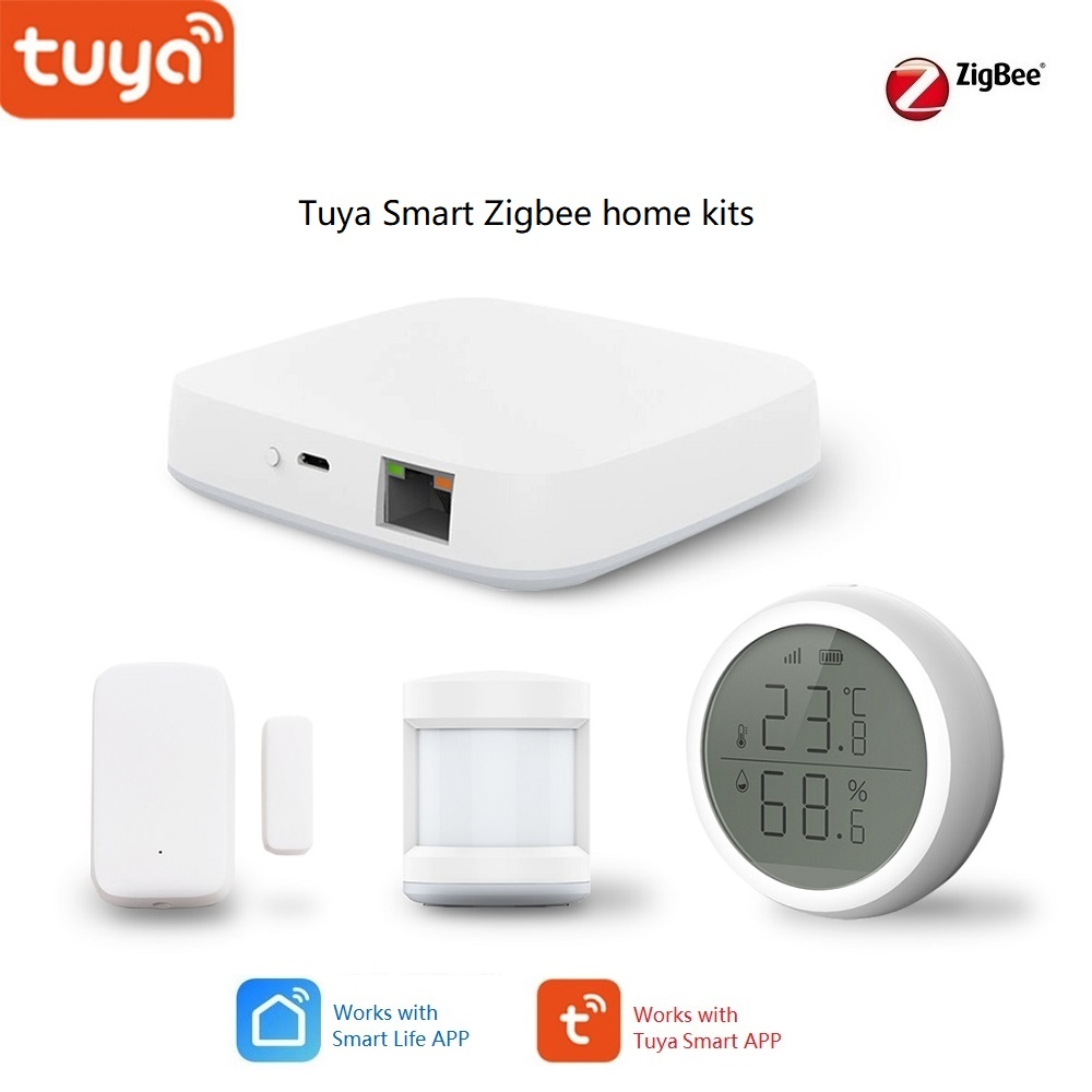 Tuya Smart Home Zigbee Gateway Hub Wall Switch PIR / Door /Temperature & Humidity Sensor, Security Alarm Kits Works Alexa,Google