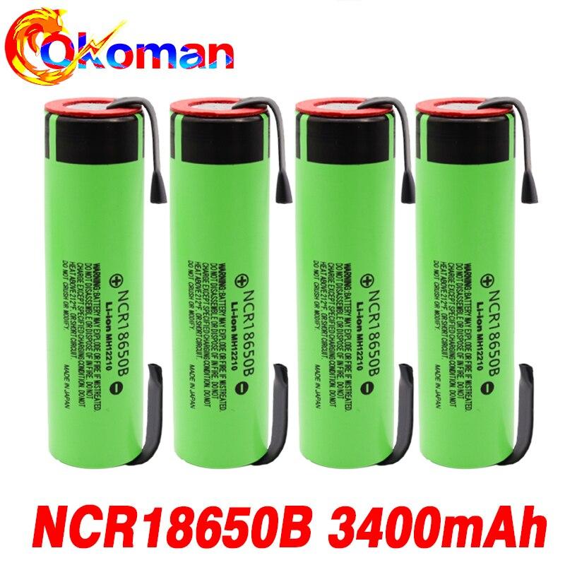 6-20 штук новый оригинальный NCR18650B 3,7 v 3400 мА/ч, 18650 Литий Перезаряжаемые Батарея сварки Никель листовые батареи электрических инструментов