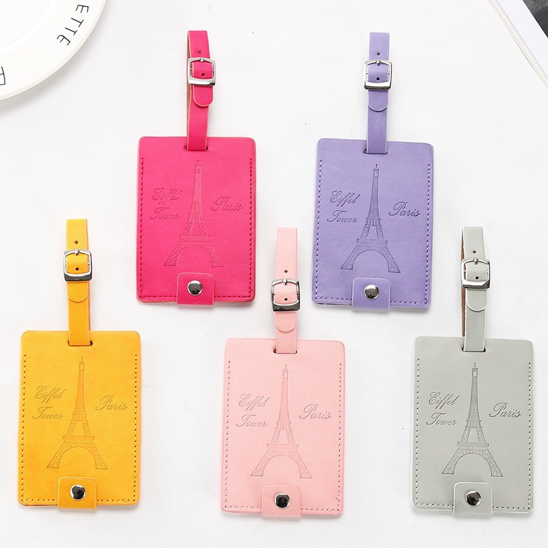 Eiffel Tower Suitcase Leather Luggage Tag Label Bag Pendant Handbag Travel Accessories Name ID Address Tags