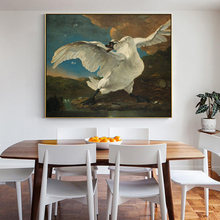 цена на Famous Painting The Threatened Swan by Jan Asselijn Posters and Prints Wall Art Pictures for Living Room Decoration