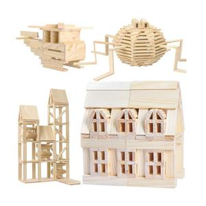 Image 3 - Ahşap inşaat yapı modeli tuğla blokları çocuk zeka geliştiren oyuncak 100 ahşap pano DIY Set oyun arkadaş çocuklar hediye