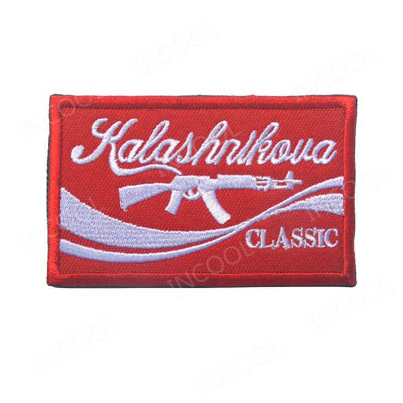 Rusia AK 47 Patch Bordir Aku Suka AK Rusia Military Moral Patch Tempur Taktis Emblem Bordiran Lucu Bordir Lencana