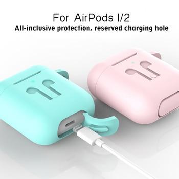 Caja protectora con gancho para los Airpods de Apple 1 2 fundas gruesas de Color sólido para las cápsulas de aire 1 2 fundas de la caja del protector de cargador
