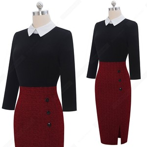 Image 4 - Vestido de oficina de retales con botones, elegante