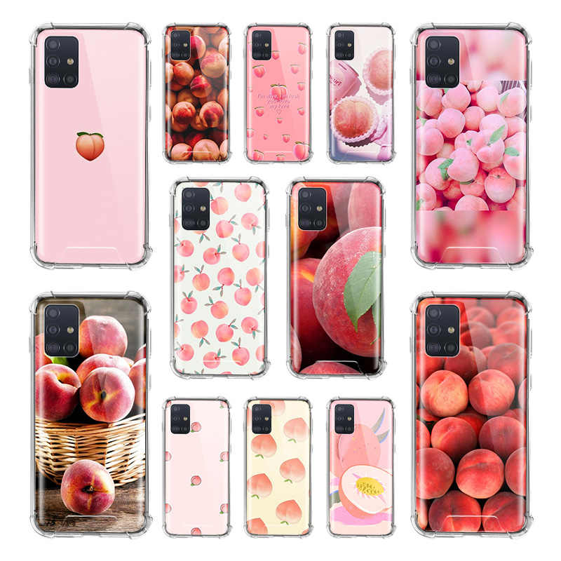 Food Wallpaper Peach Case For Samsung Galaxy A51 A71 5g M31 A41 A31 A11 A01 M51 M21 Airbag Anti Fall Tpu Phone Covers Fitted Cases Aliexpress