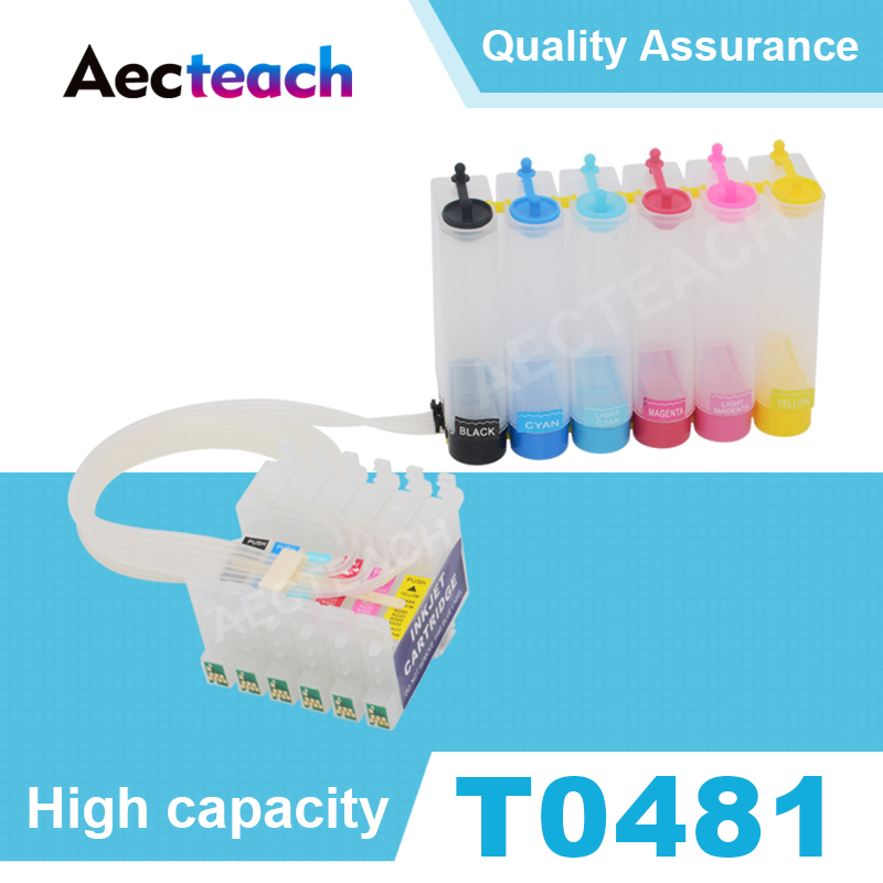 Aecteach Printer Ciss Ink System T0481 T0482 T0483 T0484 T0485 T0486 For <font><b>Epson</b></font> Stylus Photo <font><b>R200</b></font> R220 R300 Printer Cartridge image