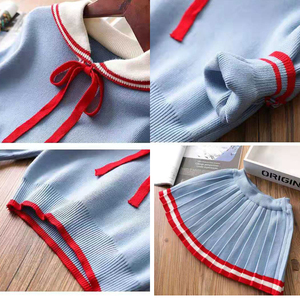 Image 4 - ユーモアクマ女の子の服のスーツ秋冬新カレッジスタイルの女の子セーター + スカートセット 2 6t 2019 子供の服