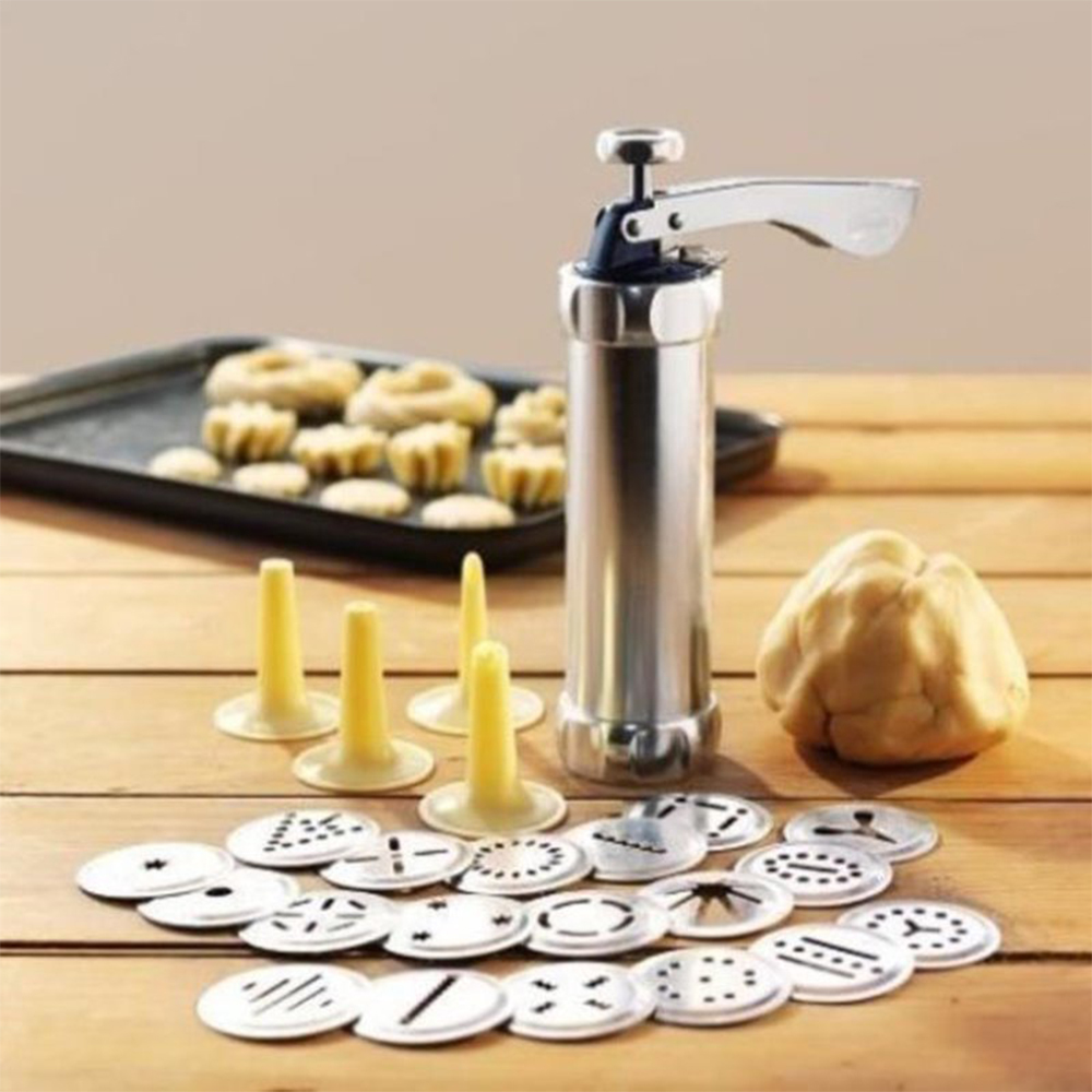Domestic Cookie Press Kit Stainless Steel Cookie Press Making Gun Biscuits Cake Mold Baking Tools Maker Machine Dessert Decor