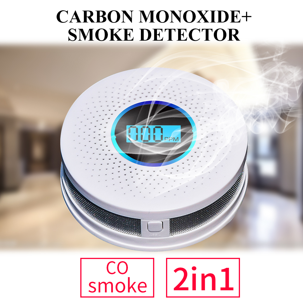Newest 2 in 1 LED Digital Gas Smoke Alarm Co Carbon Monoxide Detector Voice Warn Sensor Home Security Protection High Sensitive 6