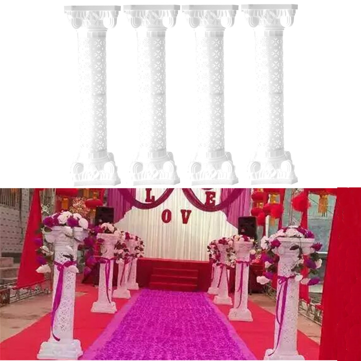 98CM décor de mariage colonne romaine avec support de fleurs accessoires de mariage en plastique blanc piliers fête événements route bienvenue fournitures