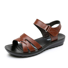 New Womens Leather Casual Comfortable Sandals Middle-aged Shoes