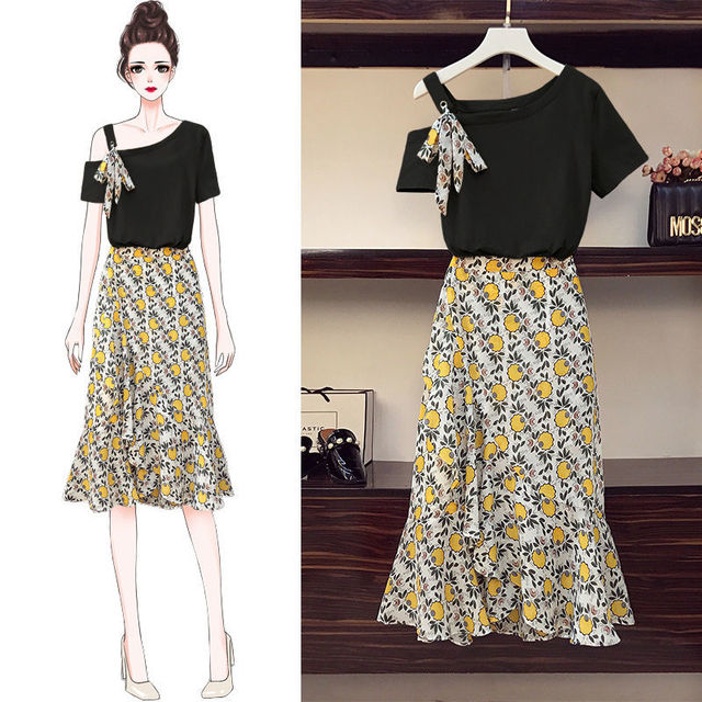 Plus Size Women's Skirt Suit 2021 Summer New Fashion Flower High-waisted Loose Skirts Two Piece Girl Sweet Bow Light Dress Set 2