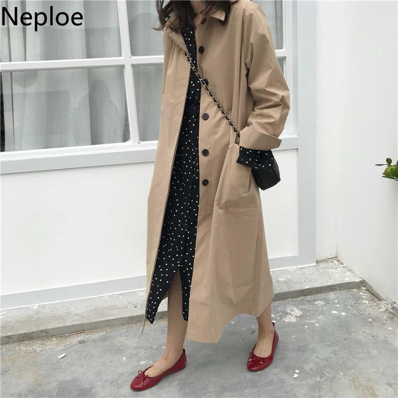 Neploe 女性秋長袖ロングトレンチコート女性ポケットストレート Ropa Mujer ウインドブレーカーファム-46492