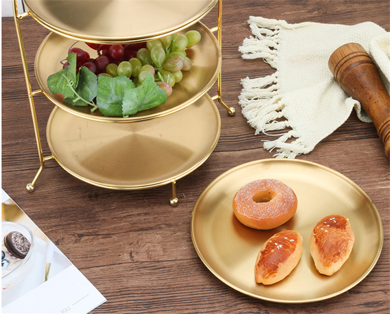 DOITOOL Fruit Plate 3pcs European Plated Cake Tray Home Decoration Ornaments Fruit Plate Snack Plate Party Supplies Pastry Dish Metal Fruit Snack Tray Gold Diameter 10cm